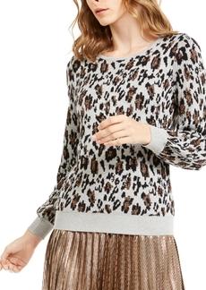 Alfani Metallic Animal-Print Sweater, Created For Macy's