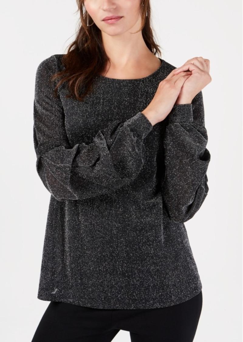 Alfani Metallic Draped-Sleeve Blouse, Created for Macy's