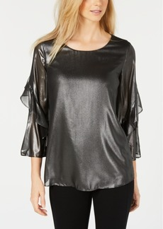 Alfani Metallic Flounce-Sleeve Top, Created for Macy's