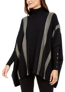 Alfani Metallic Striped Poncho, Created For Macy's