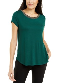 Alfani Metallic-Trim Top, Created for Macy's
