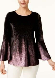 Alfani Metallic-Velvet Bell-Sleeve Top, Created for Macy's