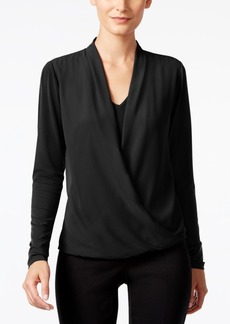 Alfani Mixed-Media Surplice Top, Only at Macy's