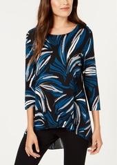 Alfani Mixed-Print High-Low Top, Created for Macy's