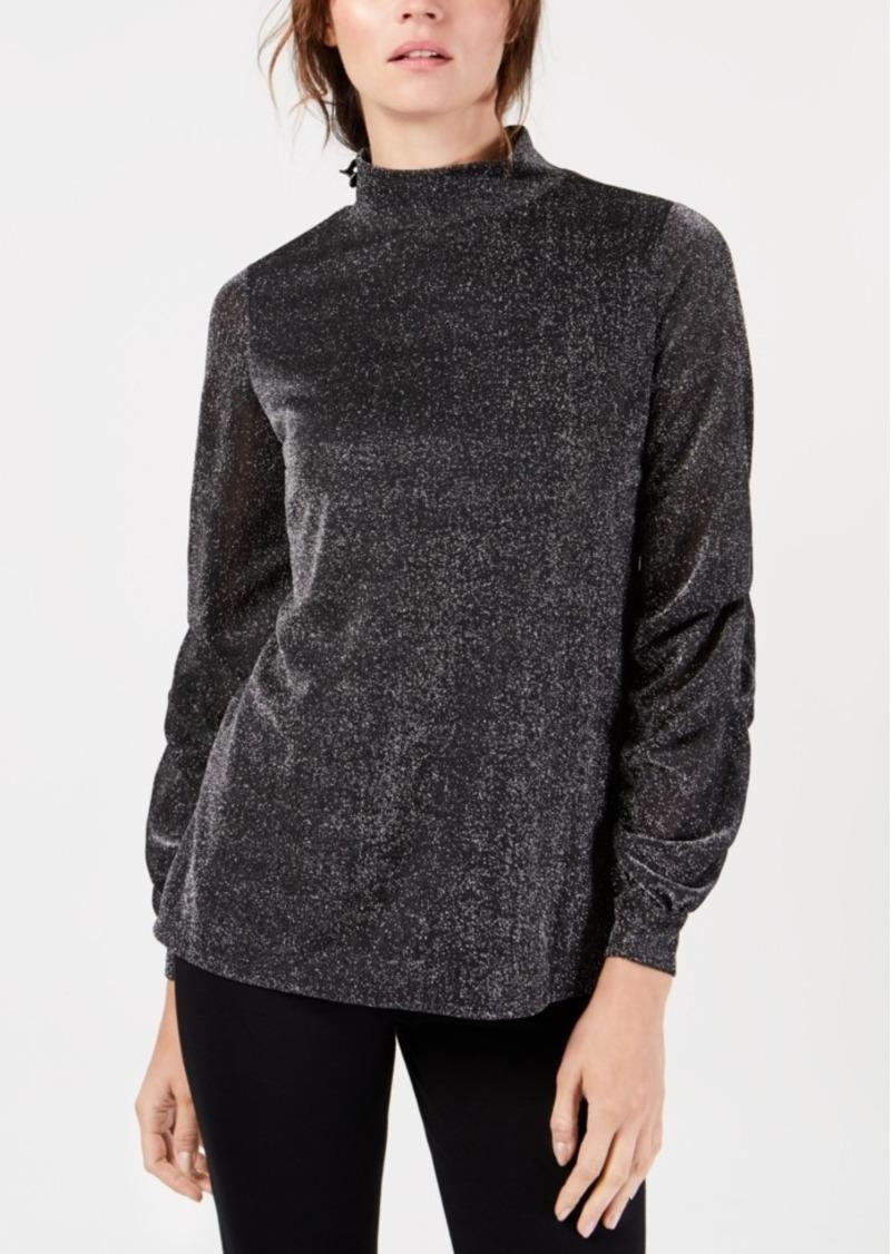 Alfani Mock-Neck Drape-Sleeve Metallic Top, Created for Macy's