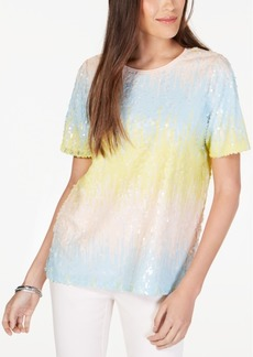 Alfani Ombre Sequinned Top, Created for Macy's