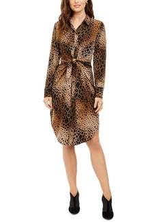 Alfani Petite Animal Print Shirt Dress, Created for Macy's