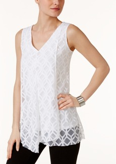 Alfani Petite Asymmetrical Burnout Top, Created for Macy's