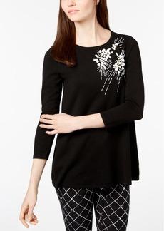 Alfani Petite Beaded Scoop-Neck Sweater, Created for Macy's