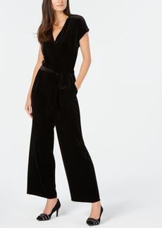 Alfani Petite Belted Velvet Jumpsuit, Created for Macy's