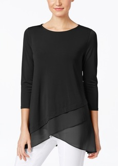 Alfani Petite Chiffon Crossover-Hem Top, Only at Macy's