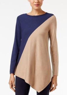 Alfani Petite Colorblocked Asymmetrical-Hem Sweater, Only at Macy's