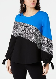 Alfani Colorblocked Tie-Sleeve Top, Created for Macy's