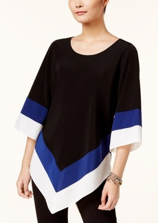 Alfani Petite Colorblocked V-Hem Top, Created for Macy's
