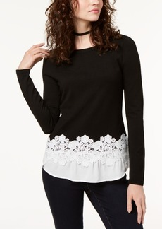 I.n.c. Petite Contrast Lace-Hem Top, Created for Macy's