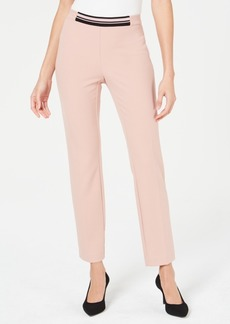 Alfani Petite Contrast-Waist Slim-Leg Pants, Created for Macy's