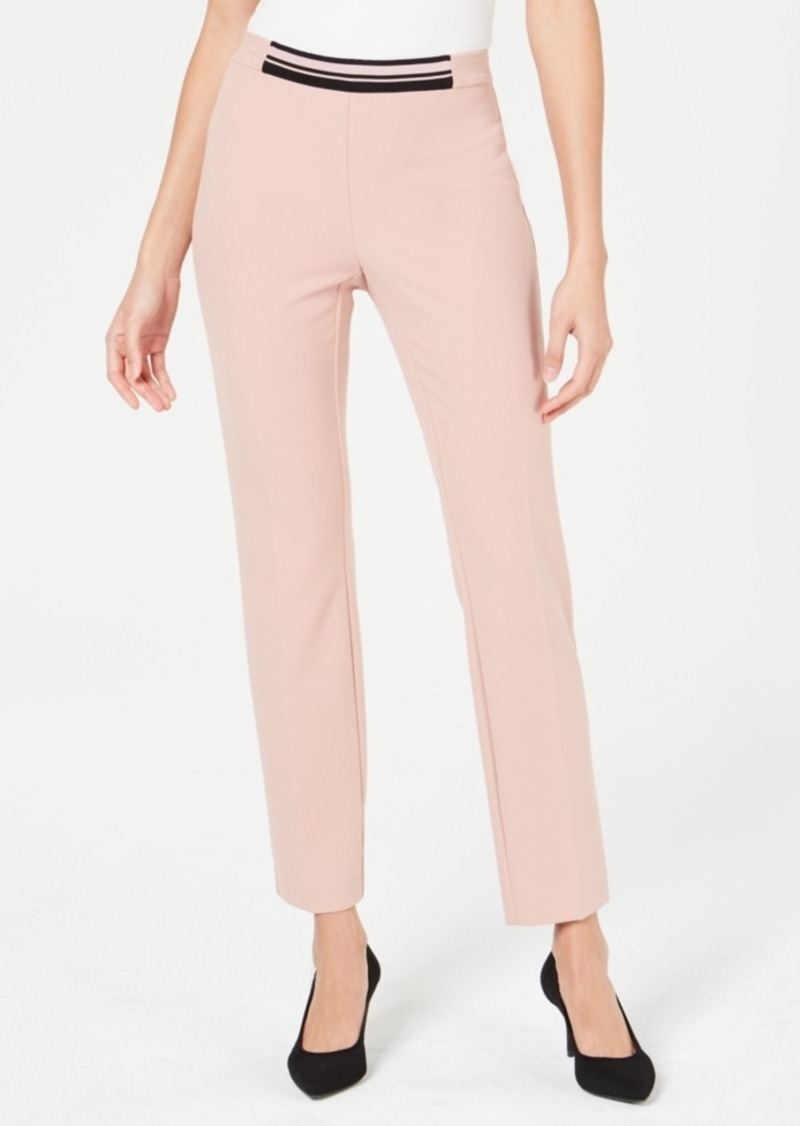 Alfani Contrast-Waist Slim-Leg Pants, Created for Macy's