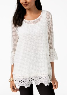 Alfani Petite Crochet-Lace Top, Created for Macy's