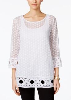 Alfani Petite Crochet-Overlay Top, Created for Macy's
