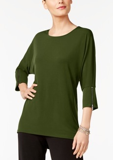 Alfani Petite Dolman-Sleeve Zip-Cuff Top, Created for Macy's