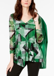 Alfani Petite Draped 3/4-Sleeve Top, Created for Macy's