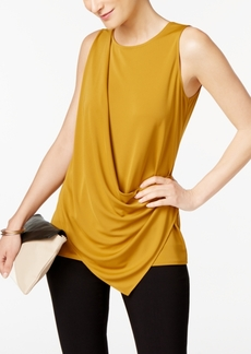 Alfani Petite Draped Asymmetrical-Hem Top, Created for Macy's