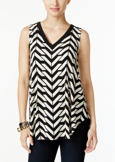 Alfani Petite Embellished Printed Swing Top, Only at Macy's