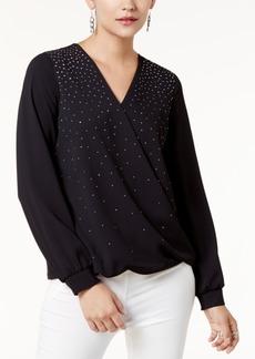 Alfani Petite Embellished Surplice Top, Created for Macy's