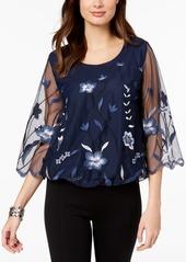 Alfani Embroidered Illusion Bubble Top, Created for Macy's