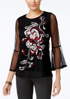 Alfani Petite Embroidered Illusion-Sleeve Top, Created for Macy's