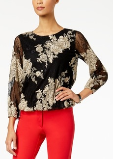 Alfani Petite Embroidered Lace Top, Created for Macy's