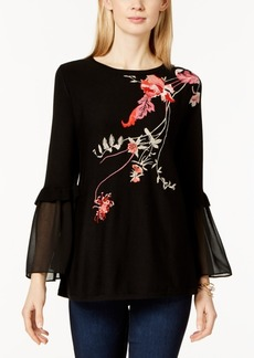 Alfani Petite Embroidered Mesh-Sleeve Top, Created for Macy's