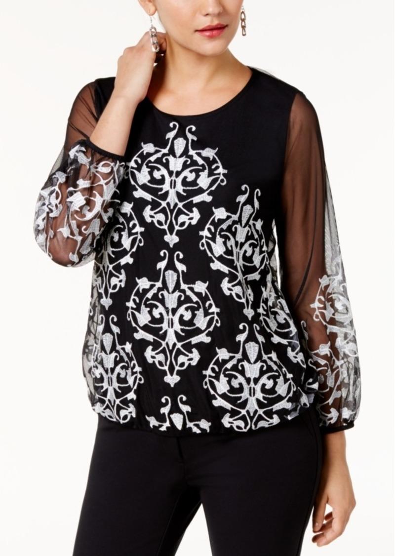 2305e3b9297aa Alfani Alfani Petite Embroidered Mesh Top