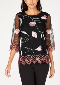 Alfani Petite Embroidered Scalloped-Hem Top, Created for Macy's