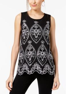 Alfani Petite Embroidered Sleeveless Top, Created for Macy's