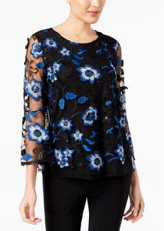 Alfani Floral-Embroidered Mesh Top, Created for Macy's