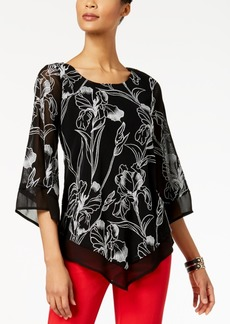Alfani Petite Embroidered V-Hem Top, Created for Macy's