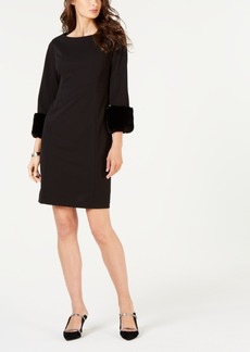 Alfani Faux-Fur-Trimmed Shift Dress, Created for Macy's