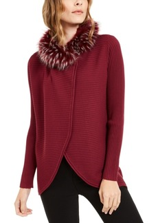 Alfani Petite Faux-Fur-Trim Convertible Cardigan, Created for Macy's