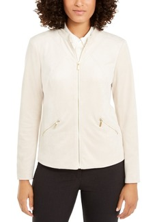 Alfani Petite Faux-Suede Zip-Pocket Jacket, Created For Macy's