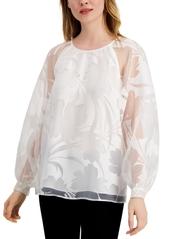 Alfani Floral Burnout Raglan-Sleeve Top, Created for Macy's
