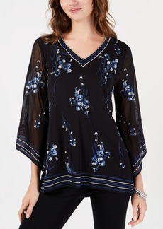 Alfani Petite Floral-Embroidered Sheer-Sleeve Top, Created for Macy's