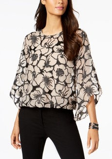 Alfani Petite Floral-Jacquard Angel-Sleeve Top, Created for Macy's