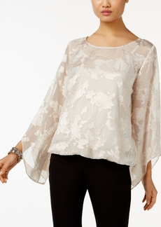 Alfani Petite Burnout Bubble-Hem Blouse, Created for Macy's
