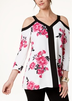 Alfani Petite Floral-Print Cold-Shoulder Top, Created for Macy's