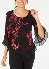 Alfani Petite Floral-Print Lace-Trim Top, Created for Macy's