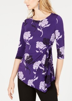 Alfani Petite Floral-Print Tie-Side Top, Created for Macy's