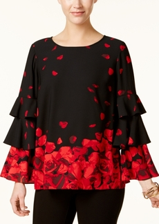Alfani Petite Floral-Print Tiered-Sleeve Top, Created for Macy's