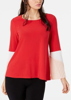 Alfani Colorblocked Pleated-Sleeve Top, Created for Macy's