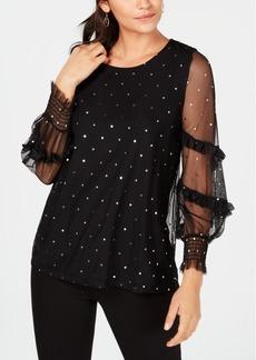 Alfani Petite Knit Foil-Dot Top, Created for Macy's